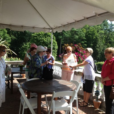 NRC Women's Book Group (and Friends) getting ready to enjoy lunch on the Terrace Cafe at The Mount - July 2013