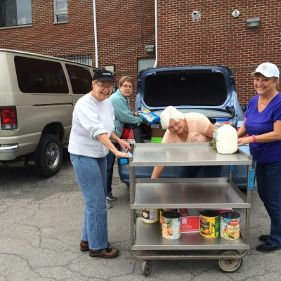 Off-loading lunch for Salvation Army